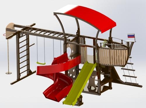 Детская площадка-корабль Адмирал в Рязани
