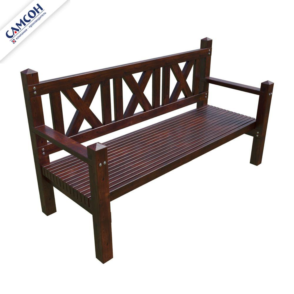 скамейка трехместная деревянная